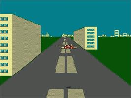 In game image of F-15 City War on the Nintendo NES.