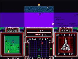 In game image of F-15 Strike Eagle on the Nintendo NES.
