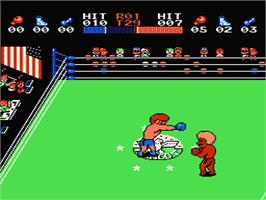 In game image of Family Boxing on the Nintendo NES.