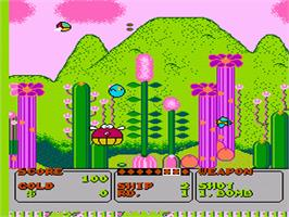 In game image of Fantasy Zone on the Nintendo NES.