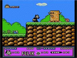 In game image of Felix the Cat on the Nintendo NES.
