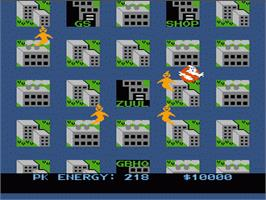 In game image of Ghostbusters on the Nintendo NES.