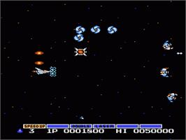 In game image of Gradius on the Nintendo NES.