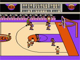 In game image of Harlem Globetrotters on the Nintendo NES.