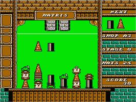 In game image of Hatris on the Nintendo NES.