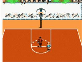 In game image of Hoops on the Nintendo NES.