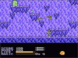 In game image of Ironsword: Wizards & Warriors 2 on the Nintendo NES.