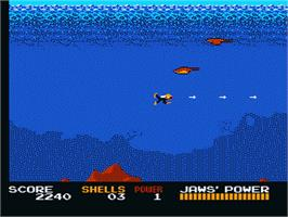 In game image of Jaws on the Nintendo NES.