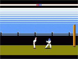 In game image of Karateka on the Nintendo NES.