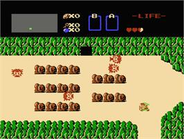 In game image of Legend of Zelda on the Nintendo NES.