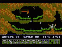 In game image of Lemmings on the Nintendo NES.