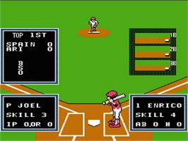 In game image of Little League Baseball Championship Series on the Nintendo NES.