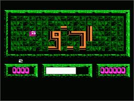 In game image of Loopz on the Nintendo NES.