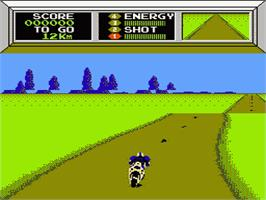 In game image of Mach Rider on the Nintendo NES.