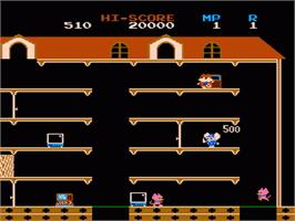 In game image of Mappy on the Nintendo NES.