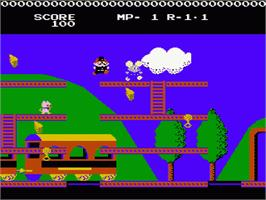 In game image of Mappy Land on the Nintendo NES.