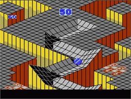 In game image of Marble Madness on the Nintendo NES.