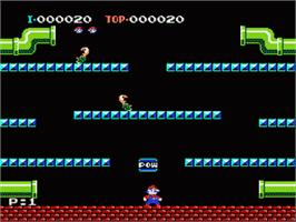 In game image of Mario Bros. on the Nintendo NES.