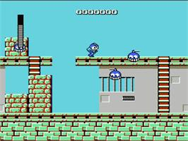 In game image of Mega Man on the Nintendo NES.