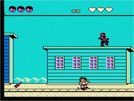 In game image of Menace Beach on the Nintendo NES.