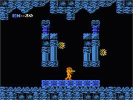 In game image of Metroid on the Nintendo NES.