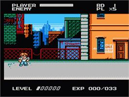 In game image of Mighty Final Fight on the Nintendo NES.