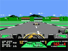 In game image of Nigel Mansell's World Championship on the Nintendo NES.