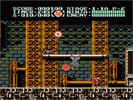 In game image of Ninja Gaiden III: The Ancient Ship of Doom on the Nintendo NES.