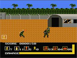 In game image of Operation Wolf on the Nintendo NES.