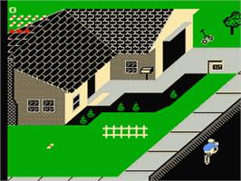 In game image of Paperboy on the Nintendo NES.