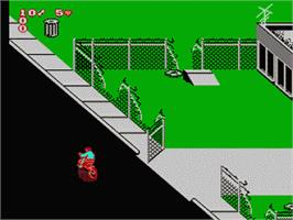In game image of Paperboy 2 on the Nintendo NES.