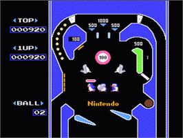 In game image of Pinball on the Nintendo NES.