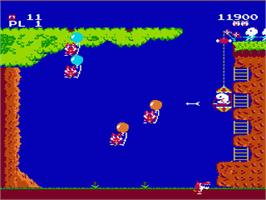 In game image of Pooyan on the Nintendo NES.