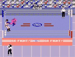 In game image of Pro Wrestling on the Nintendo NES.