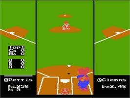 In game image of RBI Baseball on the Nintendo NES.