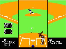 In game image of RBI Baseball 3 on the Nintendo NES.