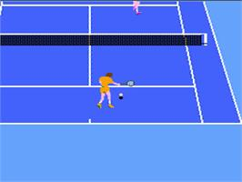 In game image of Racket Attack on the Nintendo NES.