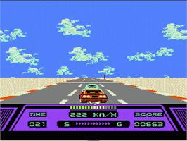 In game image of Rad Racer on the Nintendo NES.