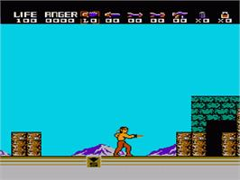 In game image of Rambo on the Nintendo NES.