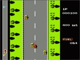 In game image of Road Fighter on the Nintendo NES.