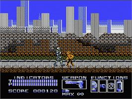 In game image of Robocop on the Nintendo NES.