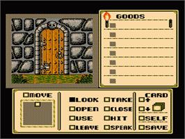 In game image of Shadowgate on the Nintendo NES.