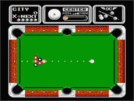 In game image of Side Pocket on the Nintendo NES.