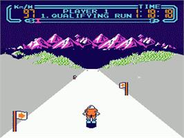 In game image of Slalom on the Nintendo NES.