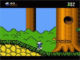 In game image of Smurfs on the Nintendo NES.