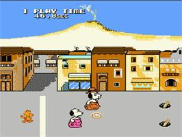 In game image of Snoopy's Silly Sports Spectacular on the Nintendo NES.