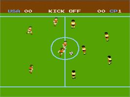 In game image of Soccer on the Nintendo NES.