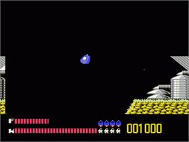 In game image of Solar Jetman: Hunt for the Golden Warpship on the Nintendo NES.