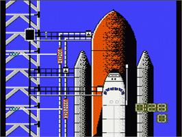 In game image of Space Shuttle Project on the Nintendo NES.