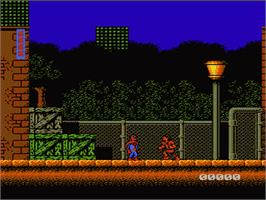 In game image of Spider-Man: Return of the Sinister Six on the Nintendo NES.